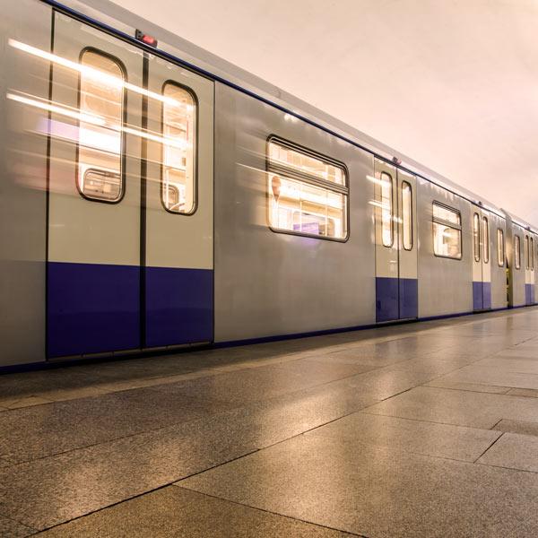 Metro train on platform